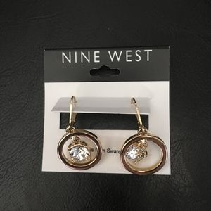Nine West Gold Drop Earrings w Swarovski Crystals